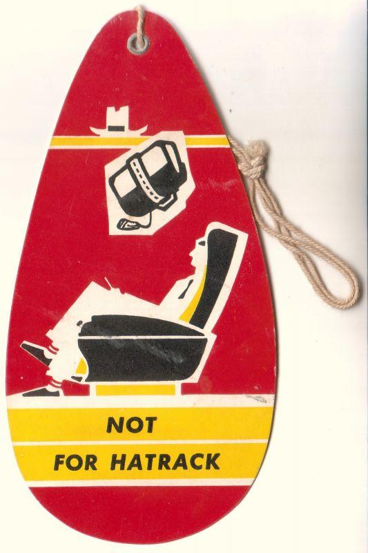 """Kofferanhänger Kofferzettel KLM Baggage Tag. Ausgefüllt für Voon ende Baroness, Destination wohl Amsterdam. Umseitig mit Illustration und Aufdruck: """"Not for Hatrack"""". Randhinweis: 5895-361 (ggf. 1961 zu datieren)."""
