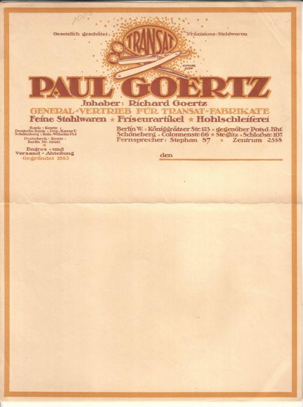 Blanko Rechnung oder Schreiben der Firma Paul Goertz (Inhaber: Richard Goertz) aus Berlin. General-Vertrieb für Transat-Fabrikate. Feine Stahlwaren, Friseurartikel, Hohlschleiferei. Ohne Datumsangabe.