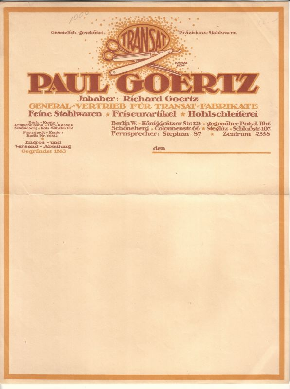 Rechnung Oder Schreiben Blanko Paul Goertz Inhaber Richard Goertz