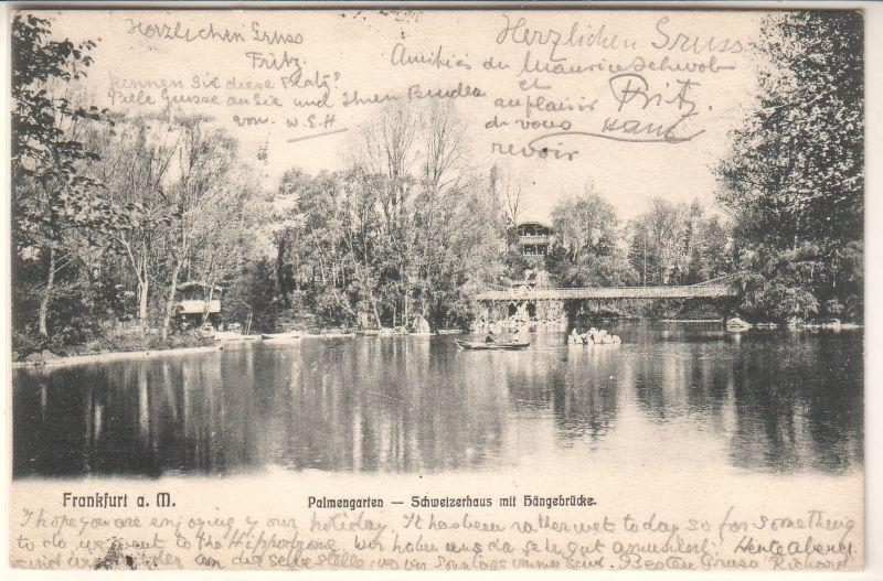 AK Frankfurt Main 1904 Palmengarten Schweizerhaus Hängebrücke