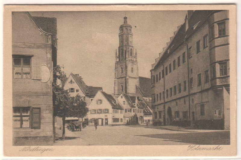 AK Nördlingen Holzmarkt ungelaufen, 1921 datiert