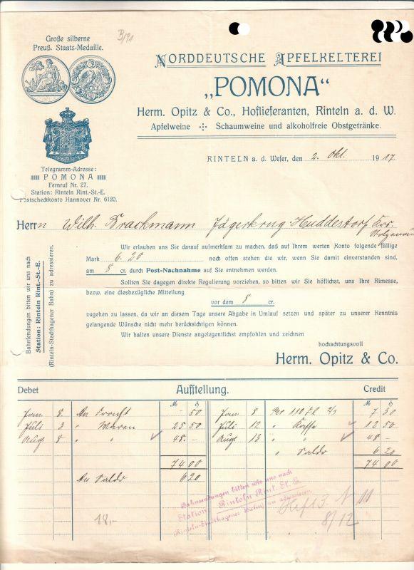 Rechnungsaufstellung Inkl Schreiben über Offene Rechnung Pomona