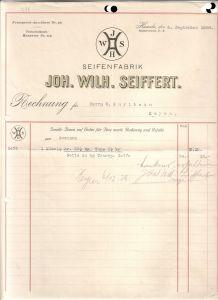 Rechnung Joh. Wilh. Seiffert Hameln 1928 Seifenfabrik Seife