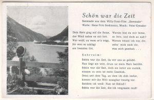 """""""AK Liedkarte Schön war die Zeit, Serenade aus dem Willy-Forst-Film """"""""Serenade"""""""", Worte: Hans Fritz Beckmann, Musik: Peter Kreuder, nur Text, ungelaufen"""""""