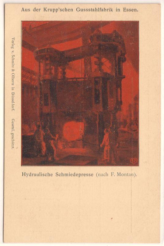 AK Essen Aus der Krupp'schen Gussstahlfabrik Schmiedepresse Alfred Krupp Künstlerkarte