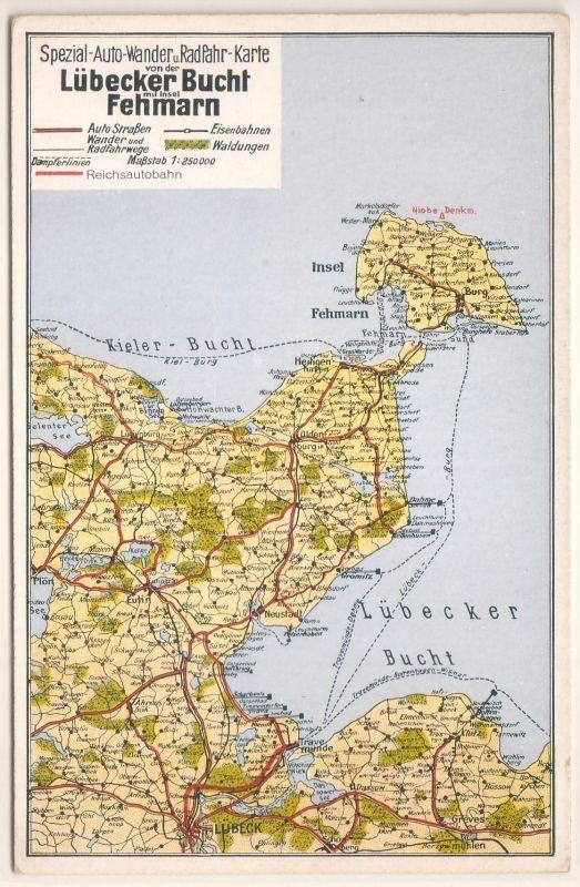 AK Lübecker Bucht Fehmarn Spezial-Auto-Wander und Radfahr-Karte Landkarte