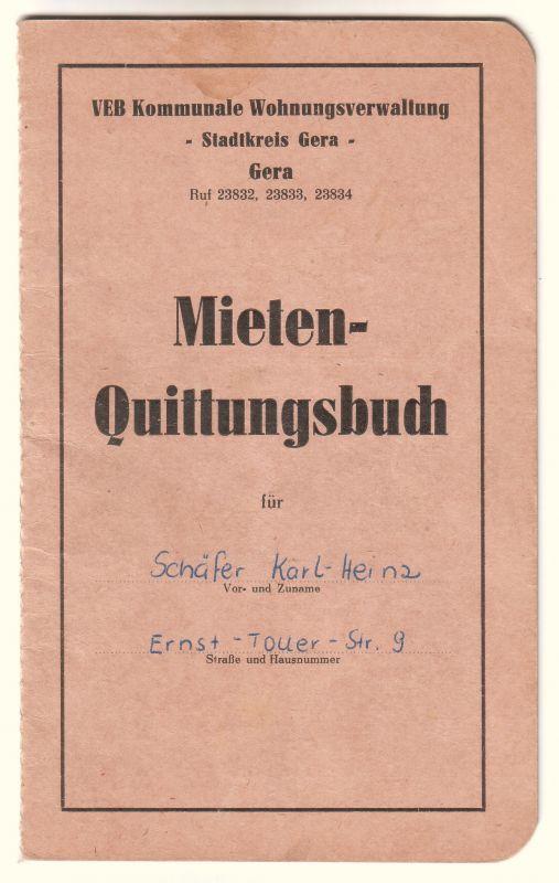 Mieten-Quittungsbuch Stadtkreis Gera DDR VEB