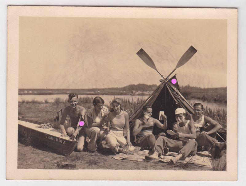 Foto privat Pfingsten 1933 Partie Halterner-See Kanu-Tour Hakenkreuzbeflaggung