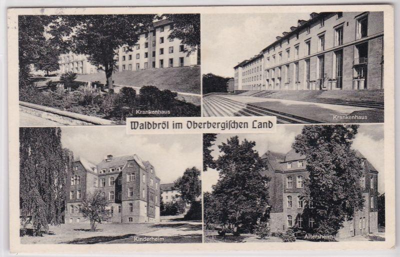 AK Waldbröl Mehrbildkarte Krankenhaus Kinderheim Altersheim 1962 gelaufen