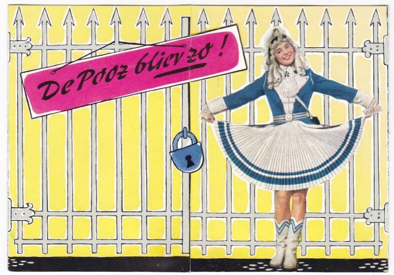 Faltwerbung von Spies, Hecker & Co aus Köln-Raderthal. Lackfabrik seit 1882. De Pooz bliev zo! (Die Lasche kann rechts in einen Schlitz gesteckt werden) Innenseiten mit Bezügen zum Karneval in Köln am Rhein. Helga Schmidt, die charmante Spies-Hecker-St...