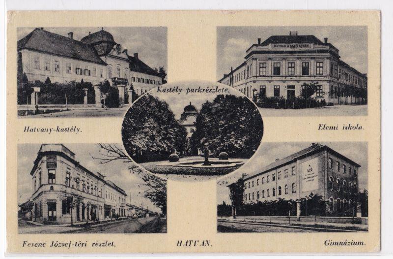AK Ungarn Hatvan Mehrbild Elemi iskola Gimnazium Hatvany-kastely 1942 gelaufen