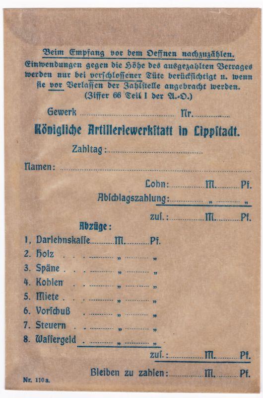 Lohntüte Königliche Artilleriewerkstatt in Lippstadt unbenutzt