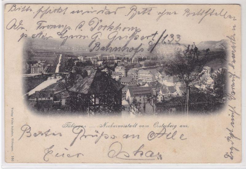 AK Tübingen Neckarvorstadt vom Oesterberg aus 1902 gelaufen