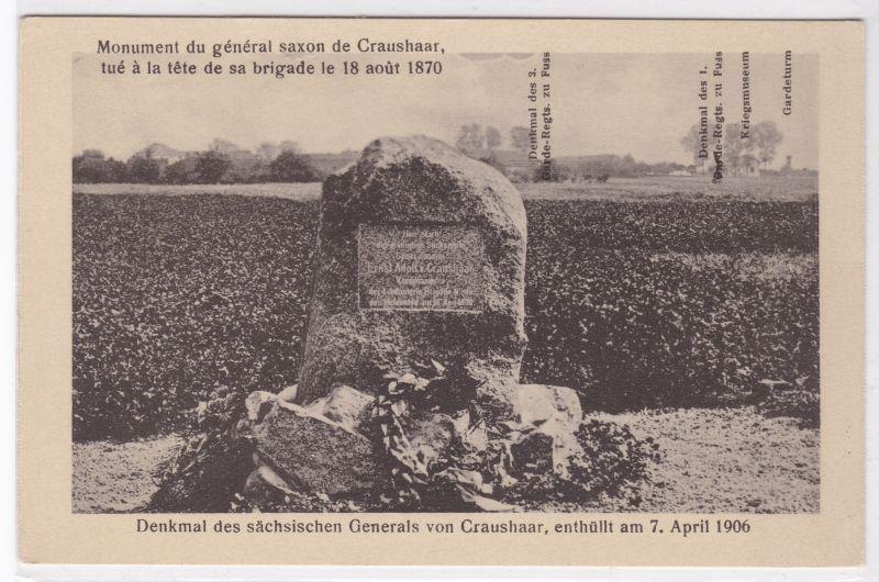 AK Frankreich Denkmal General von Craushaar Brigade Regiment ungelaufen