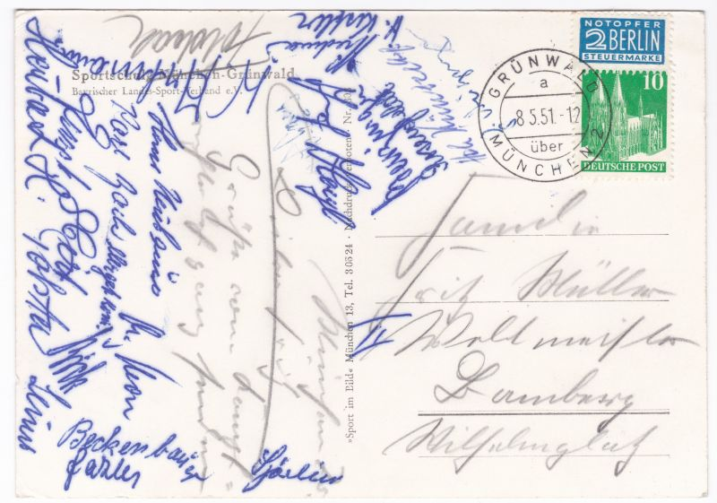 AK Sportschule München-Grünwald mit Unterschriften Kampfsport 1951 gelaufen