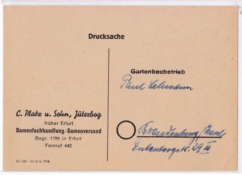 AK PK C. Platz und Sohn Jüterbog Samenfachhandlung 1960 ungelaufen