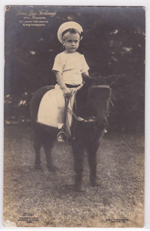 AK Prinz Louis Ferdinand von Preussen Pony 1911 gelaufen
