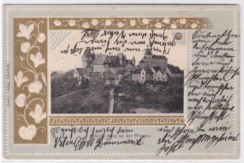 AK Prägekarte Schloss Burg an der Wupper um 1910 gelaufen