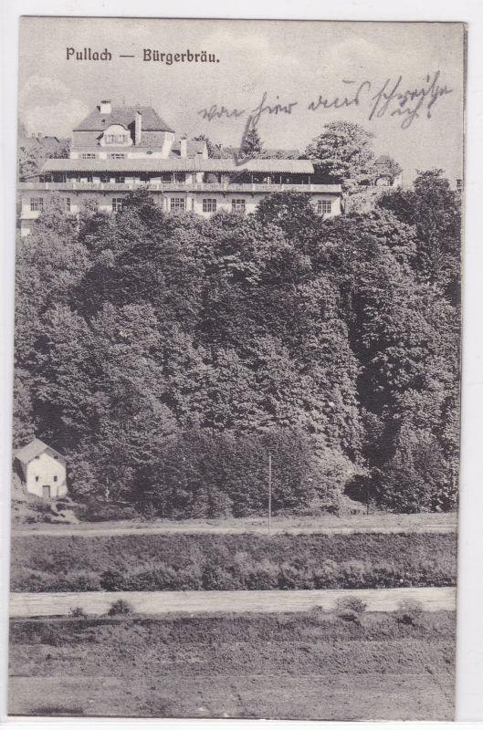 AK Pullach Bürgerbräu um 1920 gelaufen