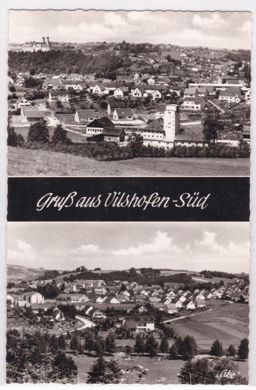 AK Gruß aus Vilshofen-Süd Zweibildkarte 1963 ungelaufen