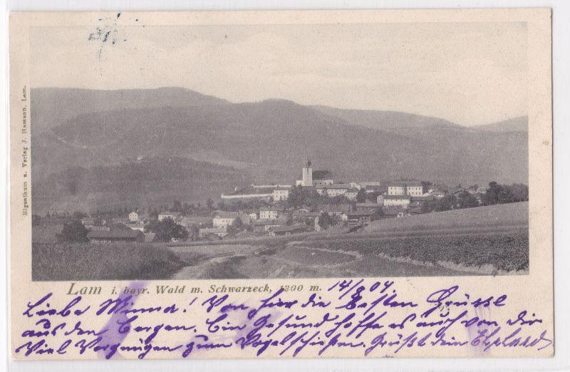 AK Lam bayr. Wald Schwarzeck 1904 gelaufen