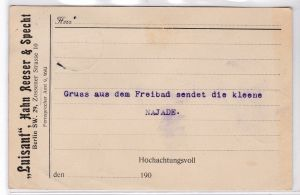 """AK Postkarte Werbekarte Berlin """"Luisant"""" Hahn Reeser & Specht 1907 gelaufen - Nachricht: """"Gruss aus dem Freibad sendet die kleene NAJADE"""""""