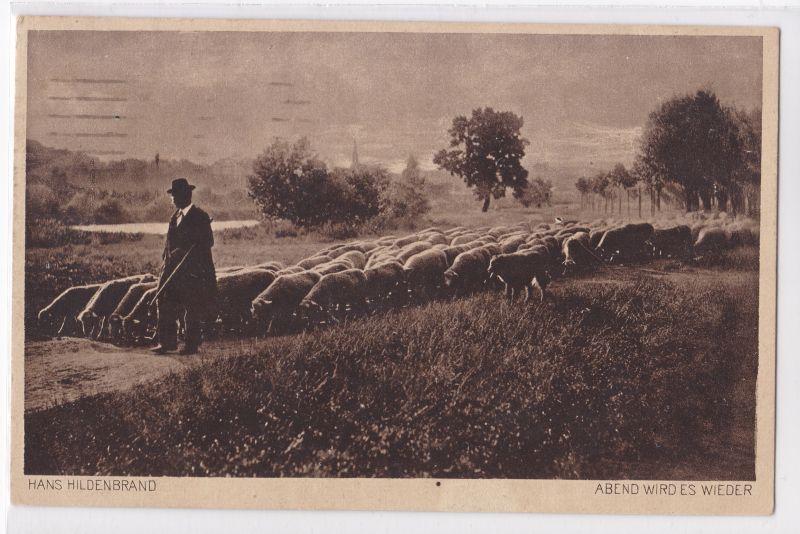 AK Invalidendank Wohlfahrtskarte Schafe Schäfer Hans Hildenbrand Abend wird es wieder 1919 gelaufen