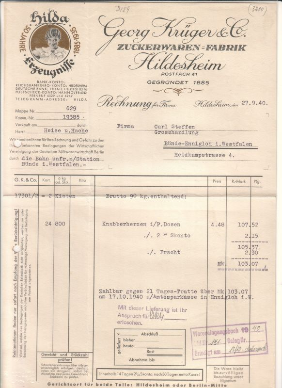 Rechnung Georg Krüger & Co. Hildesheim 1940 Zuckerwaren-Fabrik