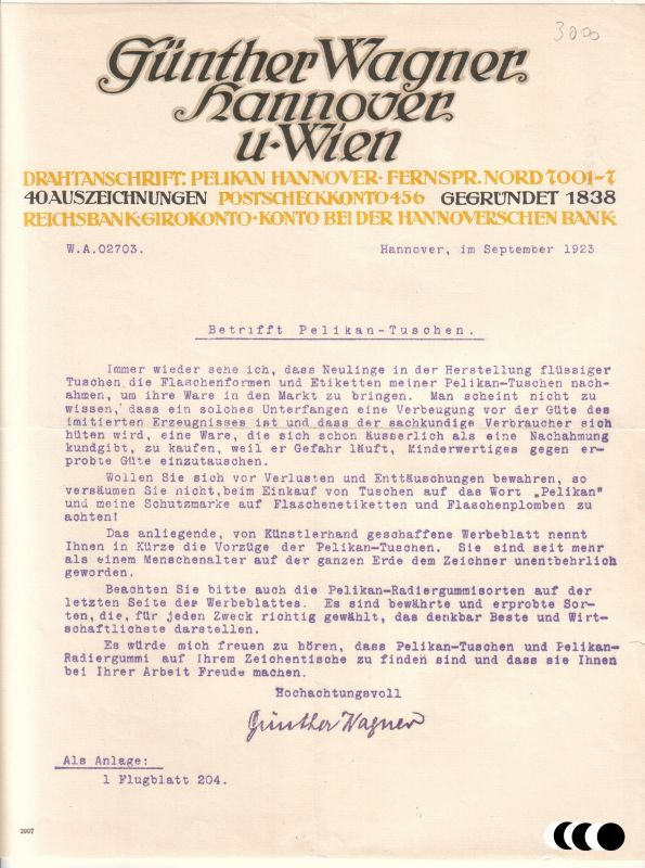 Schreiben (bzgl. Nachahmung Pelikan-Tuschen) Günther Wagner Pelikan Hannover und Wien 1923 Günther Wagner Pelikan