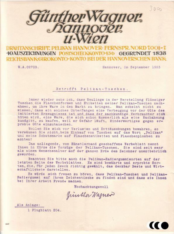 Schreiben (bzgl. Nachahmung Pelikan-Tuschen) Günther Wagner Pelikan Hannover und Wien 1923