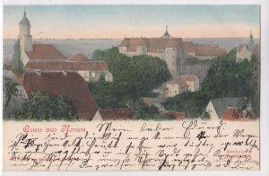 AK Gruss aus Nossen handcolorirte Künstlerkarte 1901 gelaufen