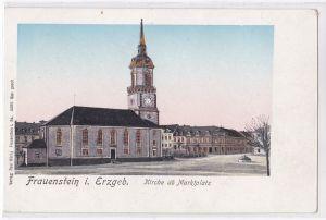 AK Frauenstein Erzgebirge Kirche und Marktplatz ungelaufen
