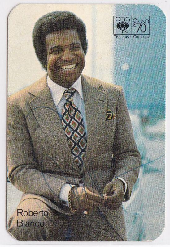 Starbild Sammelkarte CBS Roberto Blanco signiert umseitig Diskographie