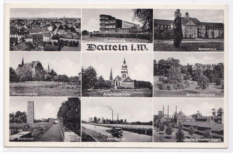 AK Datteln i. W. Mehrbildkarte Vincenzhospital Zeche Emscher-Lippe ungelaufen