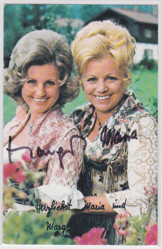 Autogrammkarte Maria und Margot Hellwig, signiert, umseitig Diskographie, EMI Electrola