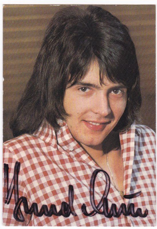 Autogrammkarte Sammelbild Starbild Bernd Clüver signiert, umseitig Diskographie