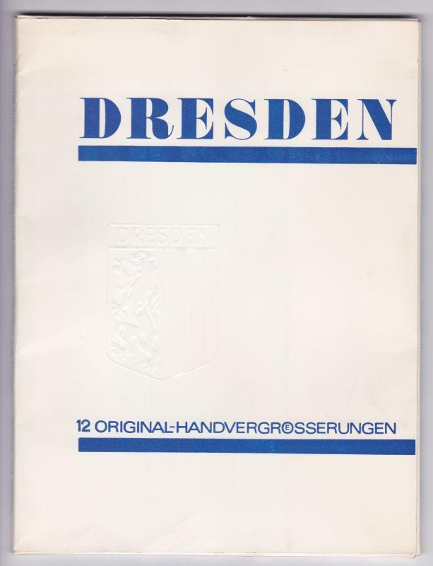Souvenir aus Dresden. Dresden-Mappe – 12 Original-Handvergrößerungen. Ein Blatt mit Nummern und Kurzbeschreibungen + 12 nummerierte Fotos. FOTO DLK (Hrsg.)