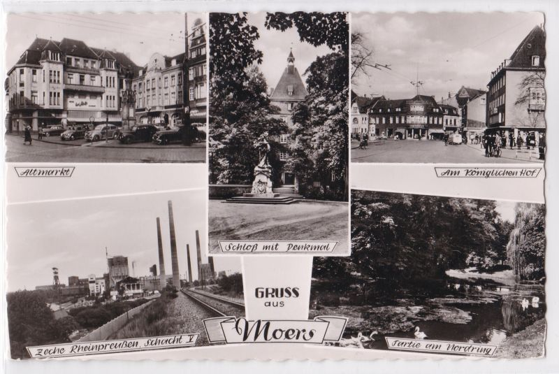 AK Gruss aus Moers Mehrbildkarte Zeche Rheinpreußen Schacht V, Altmarkt, ungelaufen