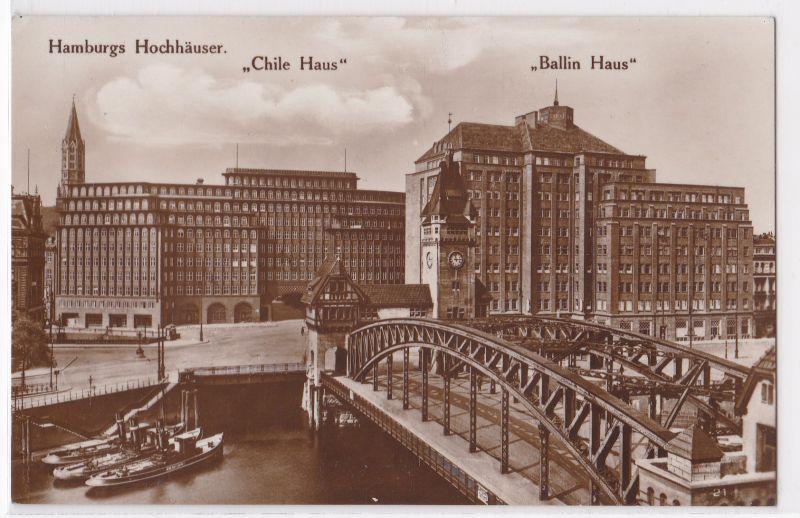 """AK Hamburgs Hochhäuser """"Chile Haus"""" und """"Ballin Haus"""" Hamburg ungelaufen"""