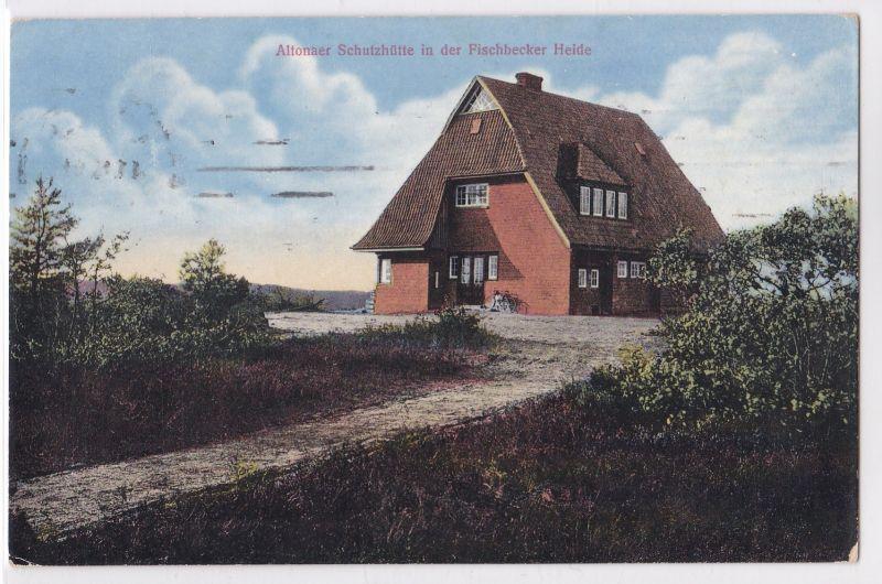 AK Altonaer Schutzhütte in der Fischbecker Heide 1915 gelaufen