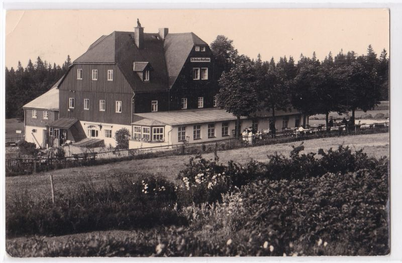 """AK Oberbärenburg Erzgebirge HO-Gaststätte und Gasthof """"Zum Bären"""", Stempel: Deutsche Luftfracht, 1959 gelaufen"""