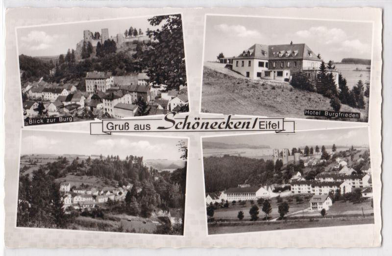 AK Gruß aus Schönecken Eifel Mehrbildkarte Hotel Burgfrieden ungelaufen