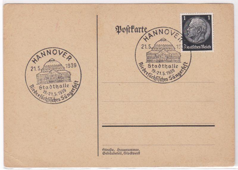 PK Stempel Hannover 1939 Stadthalle Niedersächsisches Sängerfest ungelaufen