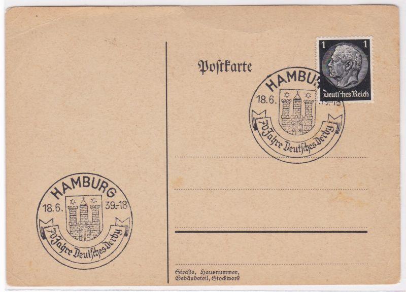 PK Stempel Hamburg 1939 70 Jahre Deutsches Derby Pferdesport ungelaufen