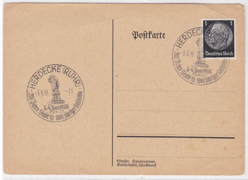 PK Stempel 1939 Herdecke Ruhr 200 Jahre Stadt in 1000jähriger Geschichte ungelaufen