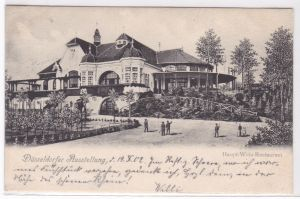 AK Düsseldorfer Ausstellung Haupt-Wein-Restaurant, Düsseldorf, 1902 gelaufen