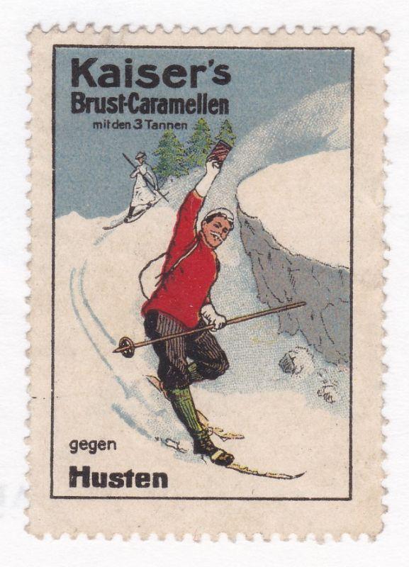 Reklamemarke Kaiser's Brust-Camellen mit den 3 Tannen gegen Husten Skifahrer