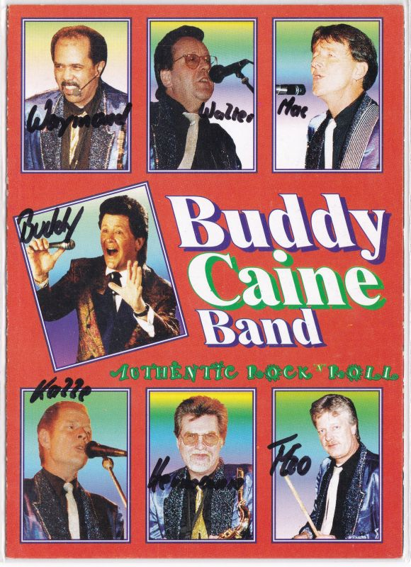 Autogrammkarte Buddy Caine Band signiert Rock'n Roll Musik Rockabilly