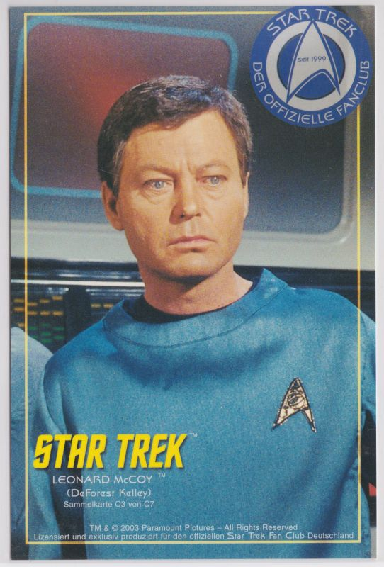 Star Trek Leonard McCoy C3 Sammelkarte Offizieller Star Trek Fan Club Düsseldorf - Star Trek - Der offizielle Fanclub - seit 1999 - (DeForest Kelley) - Sammelkarte C3 von C7 - ohne Adresszeilen, Rückseite ist blanko