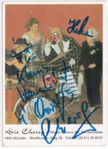 Autogrammkarte Die Cherry's signiert Musik-Clowns der Sonderklasse Münster